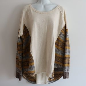 Free People Knit Colorful Sweatshirt